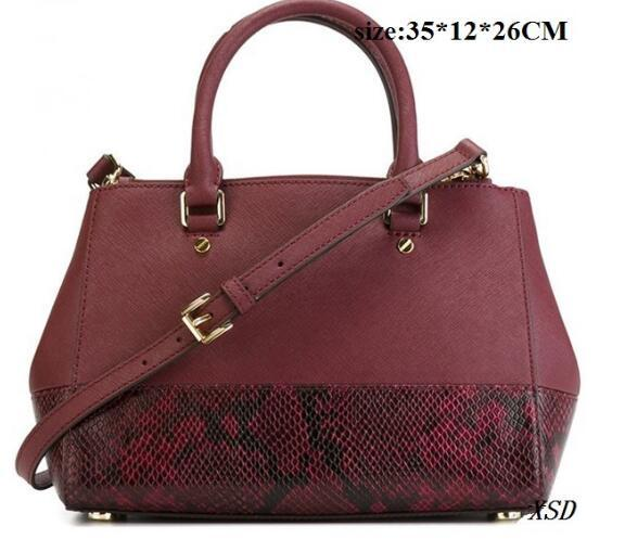 2016 PU Leather Women Bags High Quality Womens Handbag Cheap Womens Purse WINE RED Snake Leather Bag Luxury Brand Name Shoulder Bags Handbag
