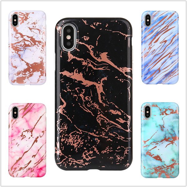 New Plated Back Cover Housing Shell Soft TPU Phone Protective Rose Gold Chrome Marble Case for iPhone X 6 6S 7 8 Plus
