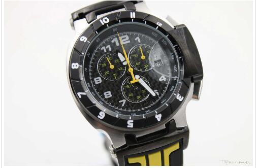 Hot Sale Men's T-Race Black Dial Japan Quartz Working Chrono Yellow Rubber strap Wrist Mens Luxury Watch+original box Free shipping