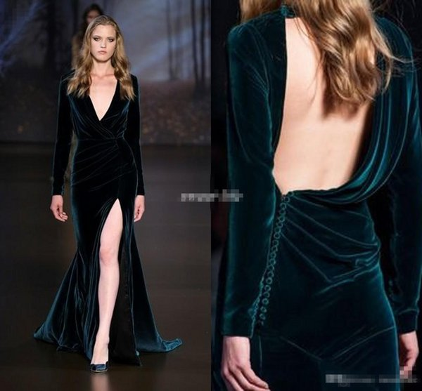 Ralph&Russo 2016 Formal Evening Dresses Deep V Neck Long Sleeves Hunter Velvet Sexy Open Back Special Occasion Prom Gowns Bridesmaid Wears