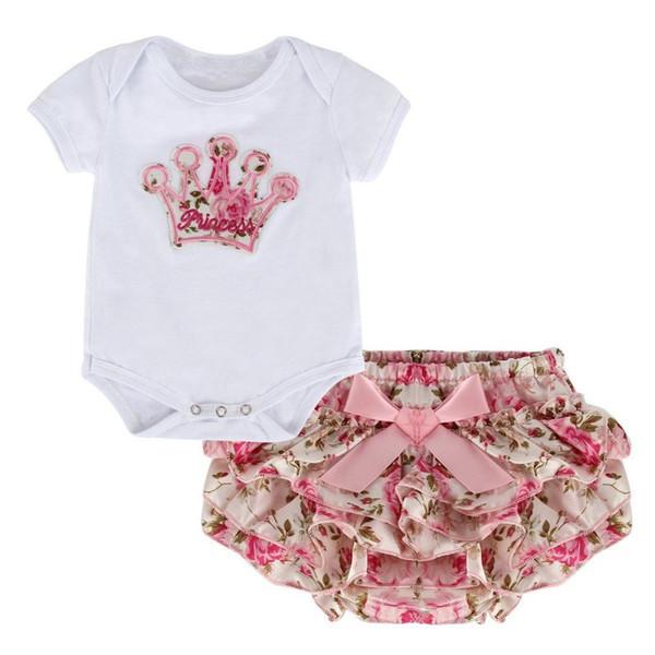 Al por mayor-2017 Verano Recién Nacido Bebé Niñas Ropa Conjunto Corona Patrón Mameluco + Pantalones Impresos Outfit 2 Unids
