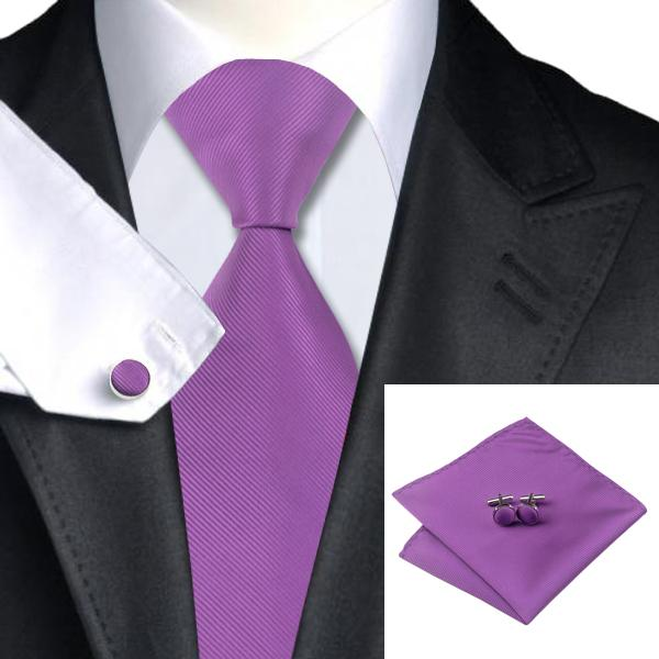 Men's Wedding Purple Silk Tie Cufflinks Hanky Jaquard Woven New Arrival Plain Necktie Sylish Formal Meeting N-0760