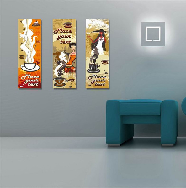 Contemporary Abstract Painting Coffee Culture Giclee Print On Canvas Wall Art Home Decor Set30427