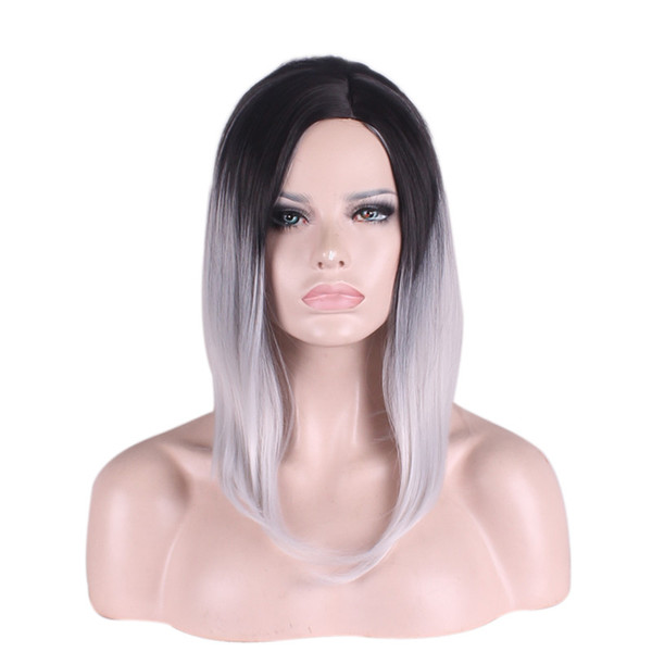 WoodFestival Multi-Color short hair wigs straight synthetic hair heat resistant fiber wigs cosplay black green purple grey ombre wig