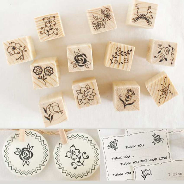 top popular 2016 New 1Set 12Pcs Vintage Wooden Box Case Rubber Stamps Set Alphabet Letters Number Craft wooden seal 2021