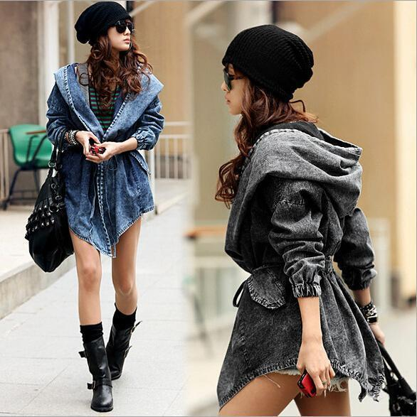 Nice New Spring and Autumn Women Jeans Jacket European and American Fashion Hooded Waist Long Cardigan Denim Jackets Capes Ponchos Coats
