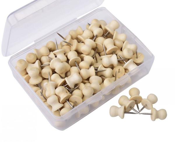 Wood Push Pins,Decorative Thumb Tacks Used on Cork Boards or Maps, Pack of 100 PCS (Natural)