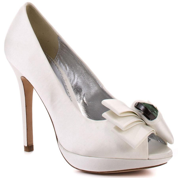 White Peep Toe Wedding Shoes Elegant Bridal Shoes Shallow Thin High Heels Pumps Calzado Mujer 2015 Rhinestones Bow Chaussures Compensees