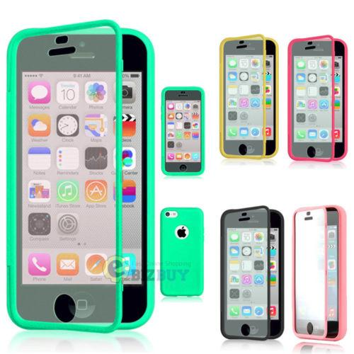 For Apple iPhone 5C TPU Wrap Up Phone Case Cover with Built In Screen Protector iphone 6s 5s samsung s5 s6edge plus note5