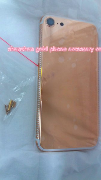 Real rose Gold Diamond Plating Back Housing Cover Skin Battery Door For iPhone 7 7+ luxury custom for iPhone 7 24k rose gold plated housing