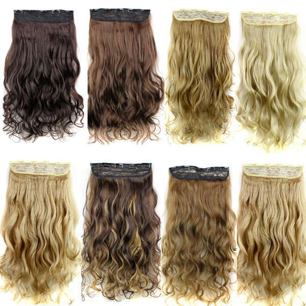 top popular Clip in hair extensions Ponytails Synthetic curly hair pieces 5clips 24inch 120g clip on hair extensions women fashion 2019