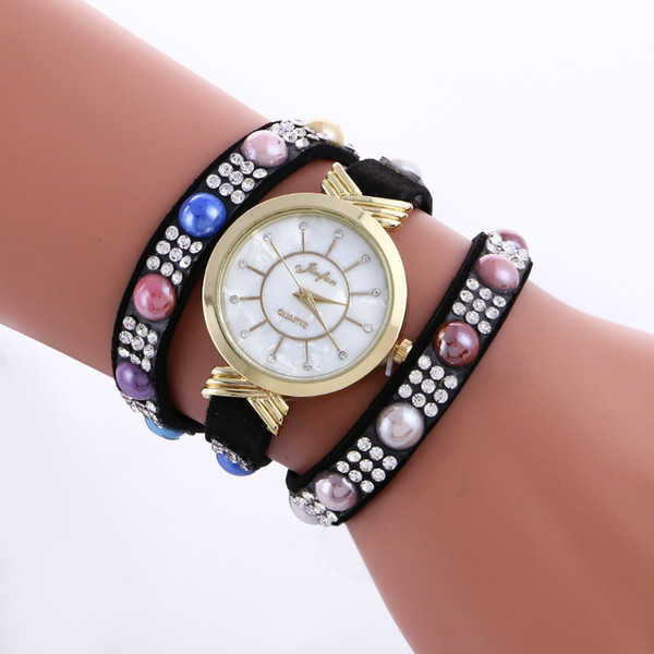 Woman Candy Three Leather Strap Bracelet Wrist Watch Jewlley Pearl Japan Movement Clock Woman Dress Watch Free Shipping
