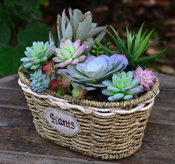 4PCS-PACK 2016 New Hot Handmade Straw basket rattan wicker basket wholesale floral hand-woven Container and more flower pots Wedding vases