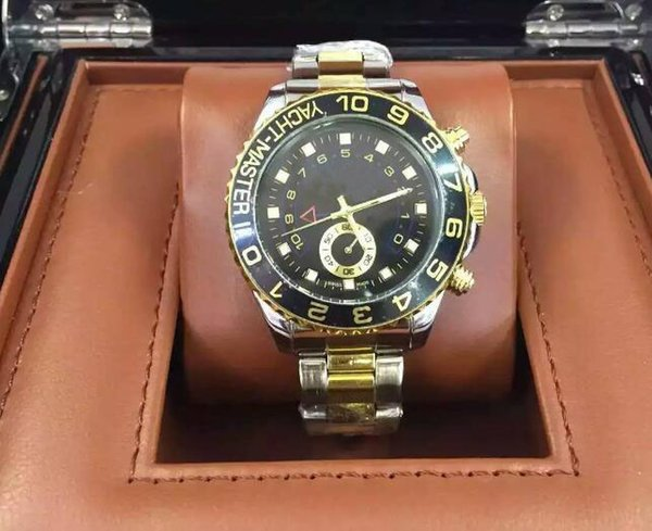 Relogio masculino mens watches dress designer fashion Black Dial Calendar gold Bracelet Folding Clasp Master Male 2017 gifts couples