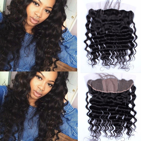 Loose Wave 4x4 Silk Base Lace Frontal Cheap Peruvian Human Hair Silk Top Lace Frontal 13x4 Loose Wave Silk Frontal Closure Bleached Knots