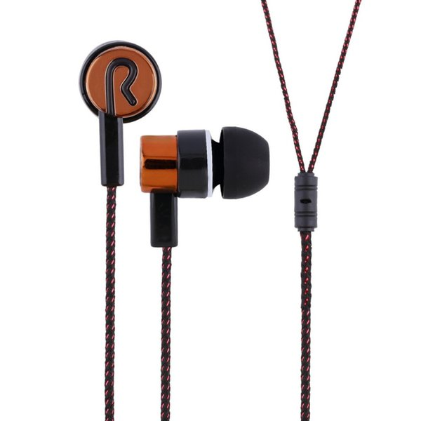 1.1M Reflective Fiber Cloth Line Noise Isolating Stereo In-ear Earphone Earbuds Headphones with 3.5 MM Jack Standard Free DHL Shipping