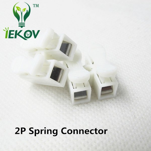 100pcs 2p Spring Connectors wire with no welding no screws Quick Connector cable clamp Terminal Block 2 Way Easy Fit for led strip