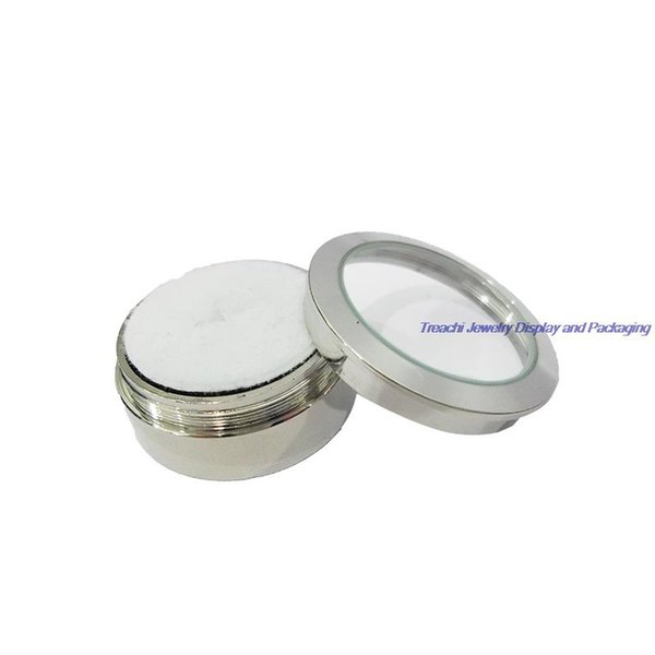 Free Shipping 3pcs Stainless Steel Round Gem Gemstone Diamond Box Jewelry Beads Display Case Organizer