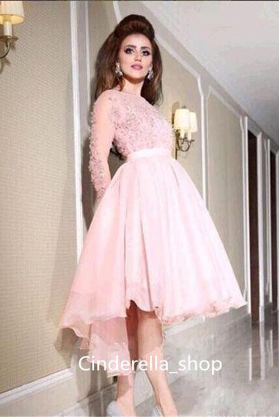 Modest Blush Pink Long Sleeves Prom Dresses 2017 Illusion Beading Top Jewel Neck Knee Length Short Dresses Evening Wear Cheap Sale Custom