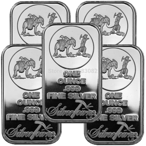 best selling Free shipping 20pcs lot 1Oz Bar Silver By Ounce Troy SilverTowne Bullion Silver Plated Brass Core Bar non magentic silver bar