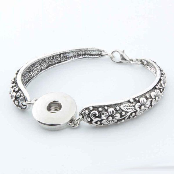 New ancient silver bracelet carved Noosa Match DIY personalized snap button anti-fatigue Valentine Jewelry free shipping