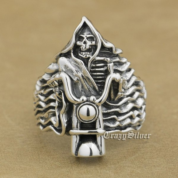 925 Sterling Silver Fire Motorcycle Skull Mens Biker Rocker Punk Ring 9W026 US Size 7 ~ 15