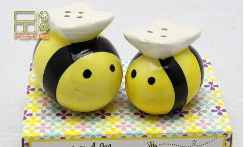 Mami y yo dulce como can Bee Ceramic Honeybee Salt Pepper Shakers 100set = 200 piezas baby shower favores y regalos Envío gratis