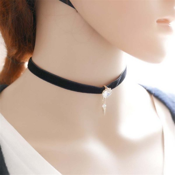 Black Gothic Collar Velvet Ribbon Necklace Alloy Crystal Pendant Chain Chock Jewelry For Women Pack of 10PCS