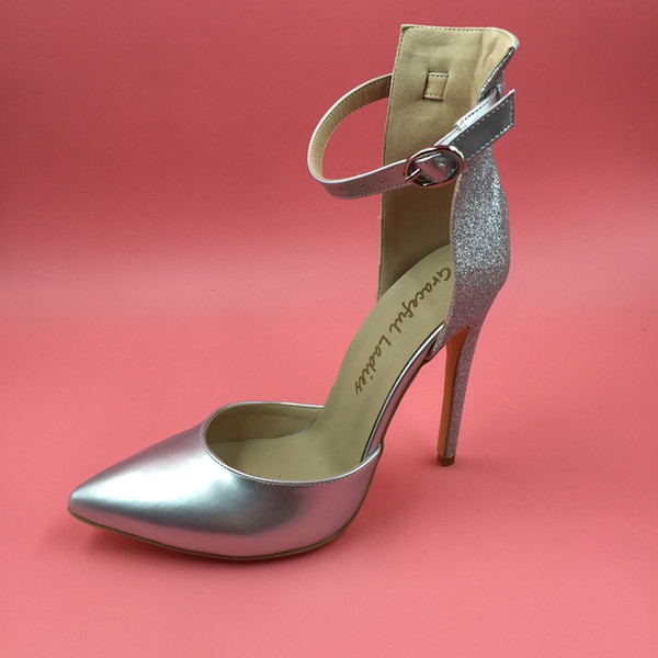 Silver Real Bridal Wedding Shoes 2016 Custom Made Plus Size Buckle
