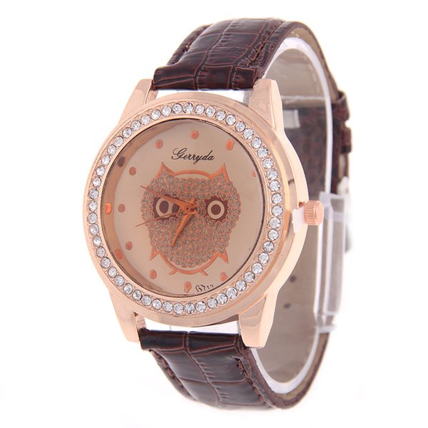 Fashion Geneva Watch for Woman Band Leather Owl Dial Crystal Casual Sport Watches for Womens Analog Quartz Dress Watch