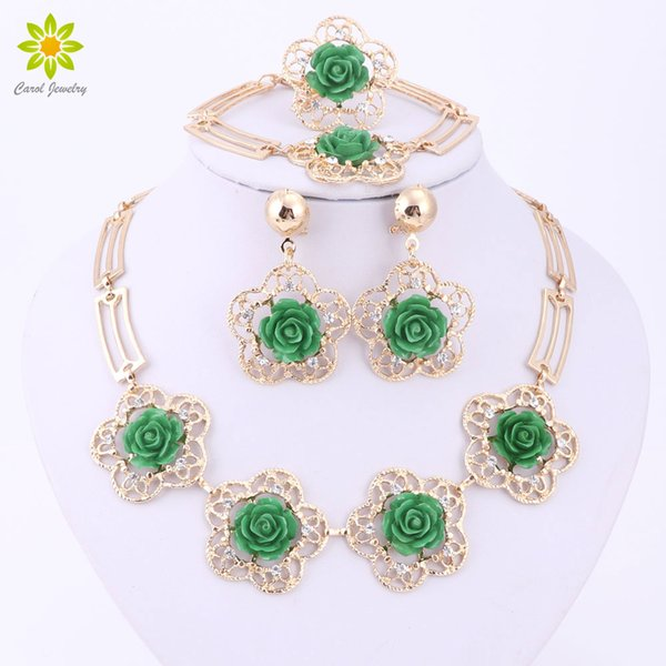 4Color Accessories Wedding African Beads Jewelry Sets Gold Plated Vintage Flower Earring Bracelet Necklace Ring Hollow Out
