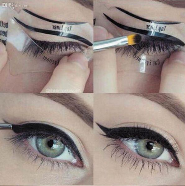 Envío Gratis 110 Unids 1 Sets Belleza Gato Eyeliner Modelos Smokey Eye Plantilla Plantilla Shaper Eyeliner Herramienta de Maquillaje
