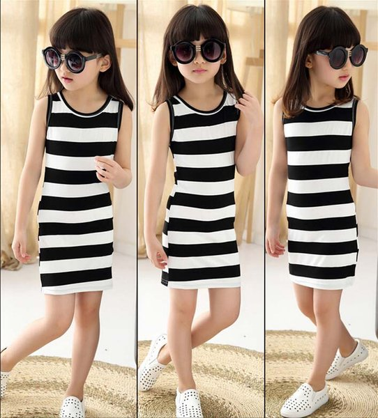 Children's clothing 2016 spring and autumn girls cotton stripe braces dress one-neck dress A-Line dress Vest skirt for 3-12 years old baby.