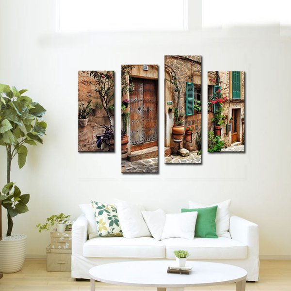 4 Pieces Wall Art Spainish Old Town Street Canvas Painting Landscape Picture Print Giclee Artwork For Home Decoration (Wooden Framed)