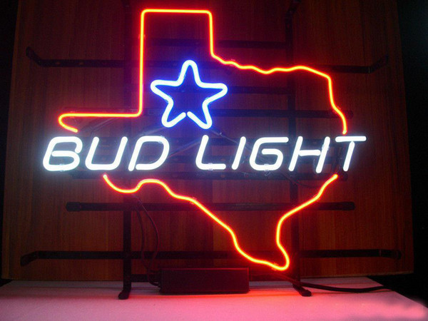 """Bud Light Texas Star Neon Sign Handcrafted Custom Real Glass Tube Beer Lager Bar KTV Club Pub Advertising Display Neon Signs 17""""X14"""""""