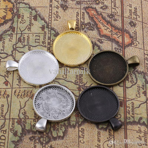 Wholesale-DIY Antiqued Bronze / Silver / Golden Vintage Alloy Round Cameo Cabochon Base Setting Pendant Tray 25*25mm Jewelry Blanks 25PCS