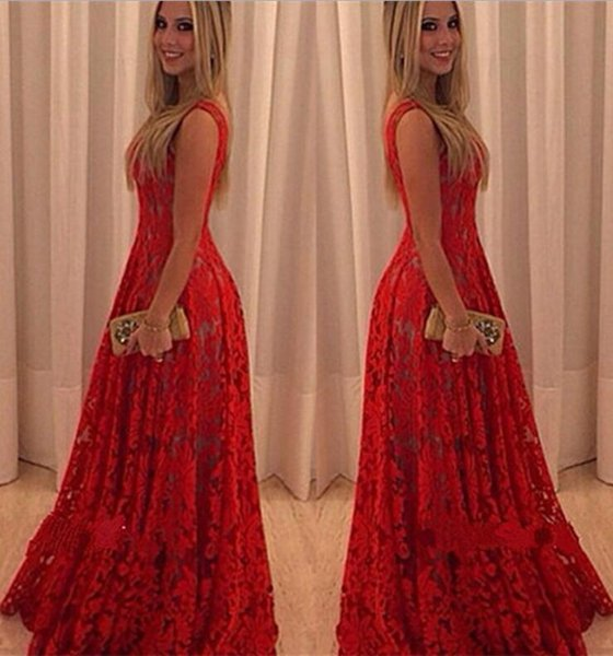 Rotes kleid spitze lang