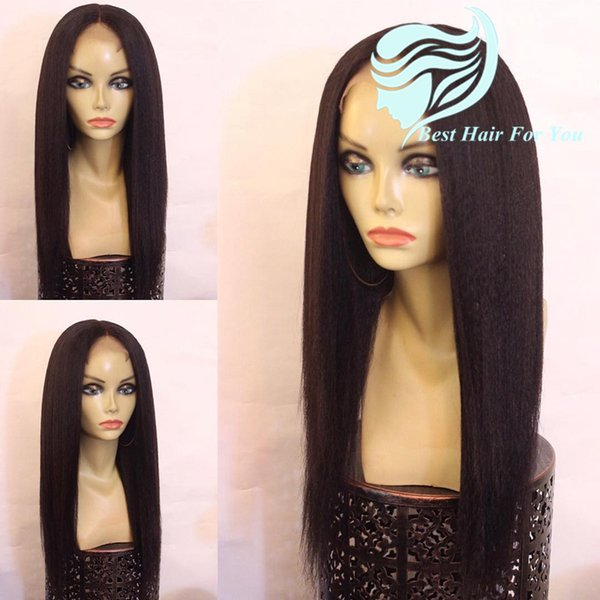 Malaysian Human Hair Light Yaki Front Lace Wig Bleached Knots Cheap Yaki Straight Glueless Full Lace Wig With Baby Hair