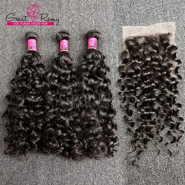 """Greatremy® Big Curl Chinese Virgin Hair Weave 8""""-34"""" 3pcs Hair Bundles +1pc Lace Closure 4x4 Human Hair Extension Great Remy Water Wave"""