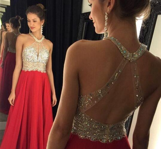 Sexy Backless Black And Red Halter Prom Dresses