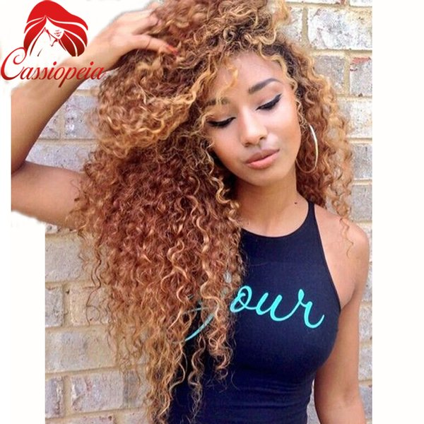 Honey Blonde Full Lace Human Hair Wigs Virgin Brazilian Kinky Curly