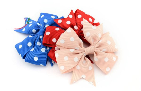 beautiful baby 3inches 8cm rib ribbon Wave point spent with Alligator clip Children's hair accessories bowknot hairpin Drop shipping 500pcs/