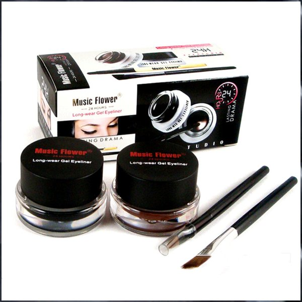Hot New Music Flower Gel Eyeliner Black brown Eyeliner lasting waterproof Cosmetics Set Eye Liner Kit Free Shipping