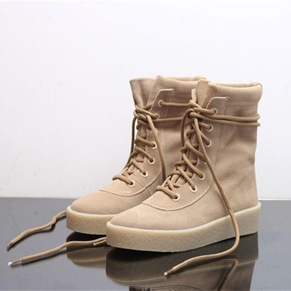 Venta caliente Diseñador de Lujo Marca Cheasle Botas Kanye West Botas de Crepé Militar Suede Leather Owen Temporada 2 Zapatos Botas de montar hombres