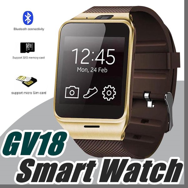 2017 GV18 1.5 inch NFC Smart Watch With touch Screen 1.3MCamera Bluetooth SIM GSM Phone Call Waterproof for Android Phone DZ09 R-BS