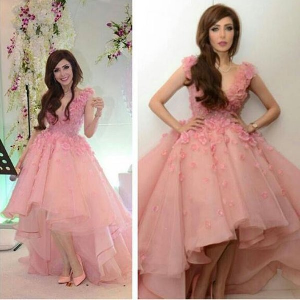 Pink Hi Lo Ball Gown Prom Gowns 2017 Deep V Neck Lace Sleeveless ...