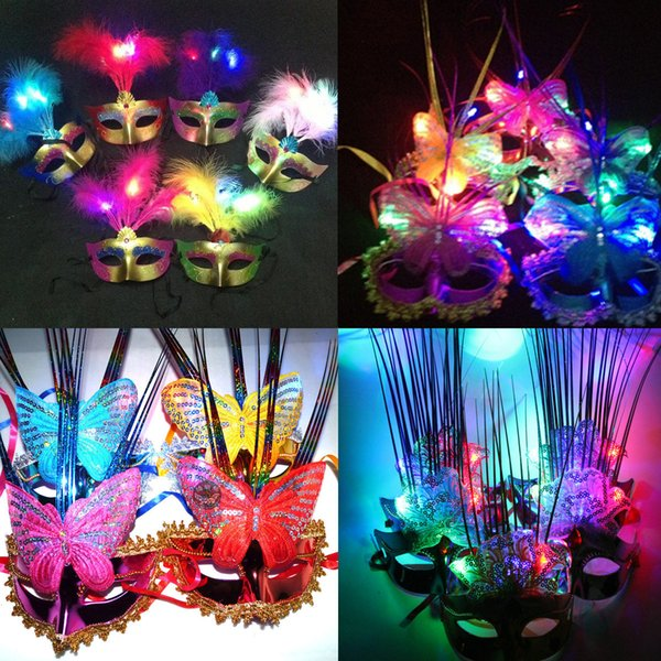 Halloween party party mask Mid Autumn Festival lantern will mask night bar light feather mask