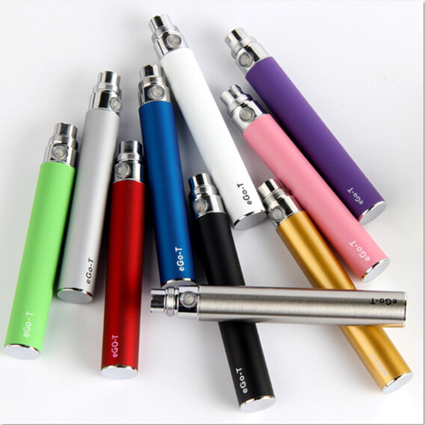 Top Quality EGO T Battery for Electronic Cigarette E-cig Ego-T 510 Thread match CE4 CE5 clearomizer CE6 650mah 900mah 1100mah 10 Colors