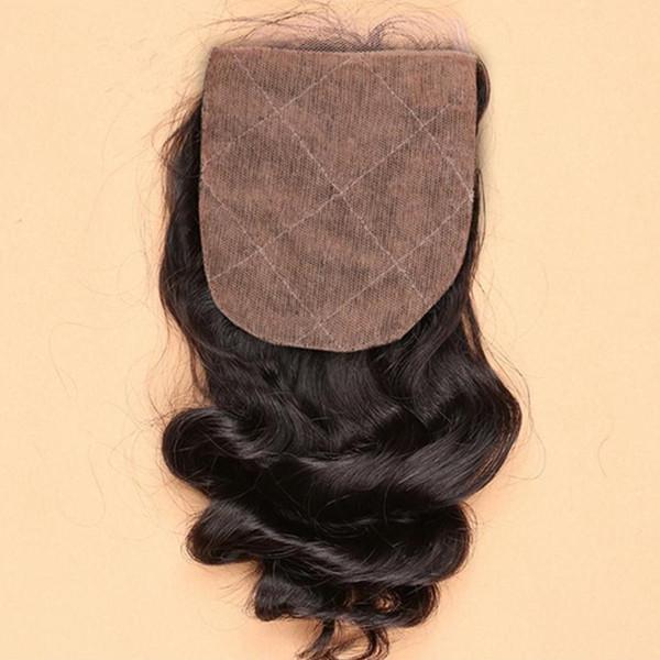 Barato de seda del pelo cierre de base de onda suelta nudos blanqueados Brazillian pelo humano de seda cierres de encaje Top 4X4 '' gratis medio 3 parte de envío gratis