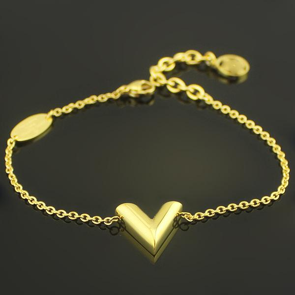 Big V Letter Gold Charm Bracelets Bangles For Women 316L Stainless Steel 18K Yellow Gold Plated European American Luxury New Fashion Jewelry